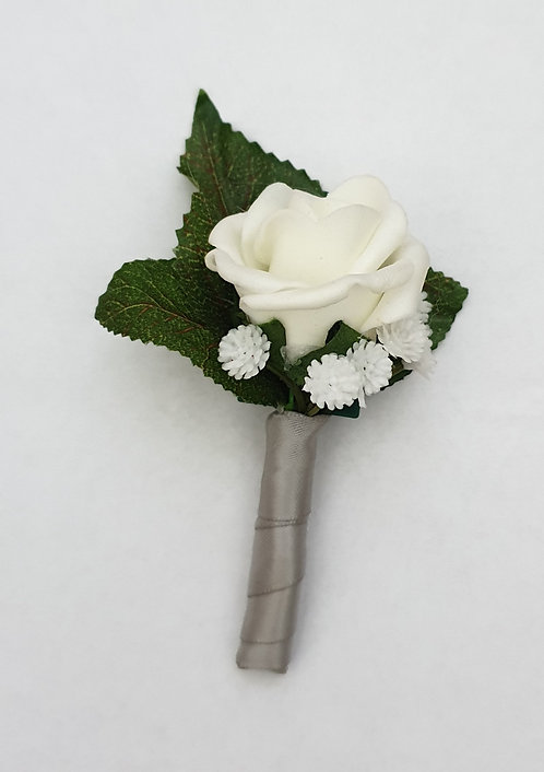 Artificial rose buttonhole with ribbon stem (Pageboy)