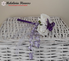 purple & ivory flower girl wand with butterfly - foam flowers