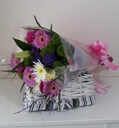 purple cone wrap bouquet - fresh flowers