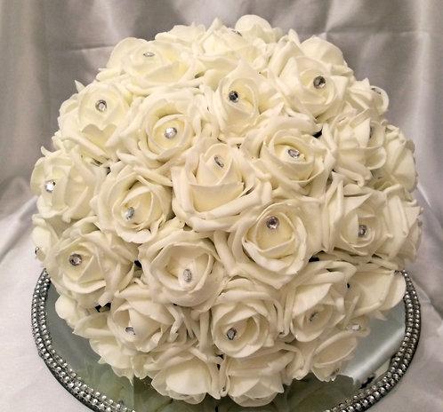 Artificial bridal bouquet roses with diamantes