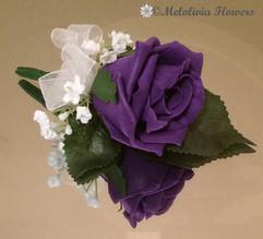 purple buttonhole/corsage - foam flowers