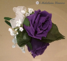 purple buttonhole/corsage - foam flowers
