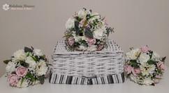 pink & ivory bouquets - foam flowers