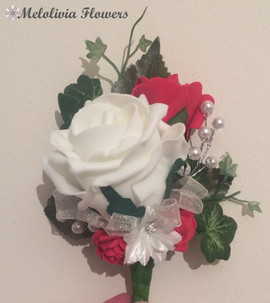 red & ivory buttonhole/corsage - foam flowers