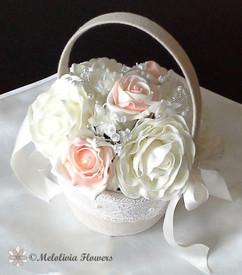 peach & ivory flower girl hessian basket - foam flowers