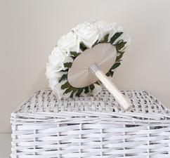 ivory bouquet with ribbon underside - foam flowers
