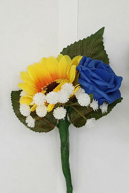 Artificial sunflower and rose buttonhole