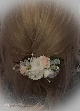 pink & white hair clip - foam flowers