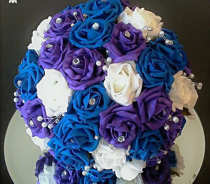 Artificial bridal bouquet with roses, pearls and diamante embellishments