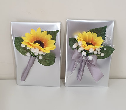 Artificial sunflower buttonhole and corsage set