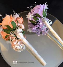 orange, lilac & ivory flower girl wands - foam flowers