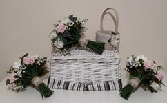 pink & hessian flower girl basket - foam flowers