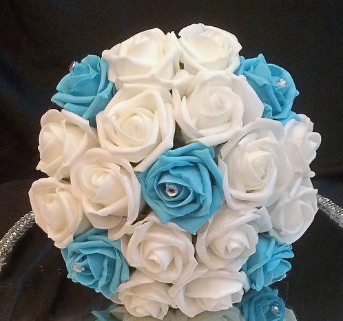 Artificial bridesmaid bouquet with diamante gems