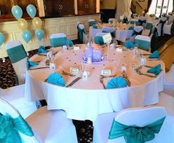 White and teal sea/water themed wedding breakfast/reception.
