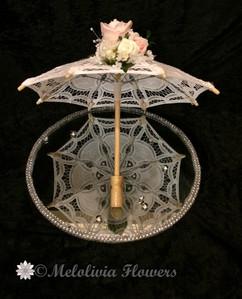 pink & ivory parasol - foam flowers