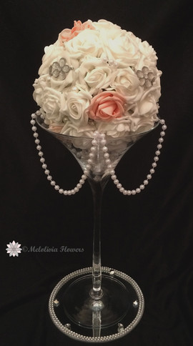peach & white flower pomander ball for table centrepiece - foam flowers