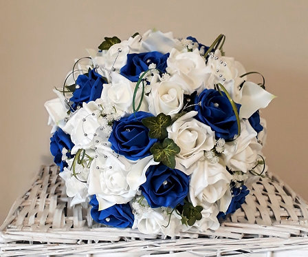 Artificial bridal bouquet, roses and calla lilies, silver hoops and diamantes