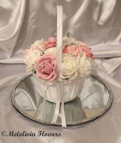 pink & ivory flower girl satin basket - foam flowers