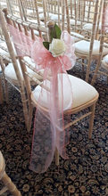 Blush pink chair sash with foam flowers