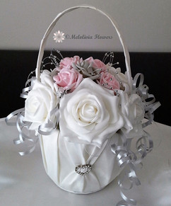 pink, silver & white flower girl satin basket - foam flowers