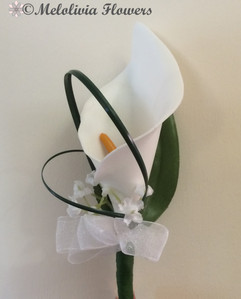 white buttonhole/corsage - foam flowers