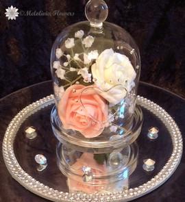 Peach & ivory flowers in bell jar - foam flowers