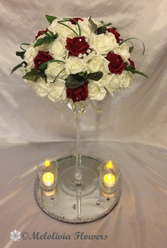 red & ivory flower dome table centrepiece - foam flowers