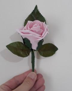 pink buttonhole/corsage - foam flowers