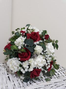 red & ivory bouquet - foam flowers