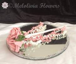 pink & ivory flower girl wands - foam flowers