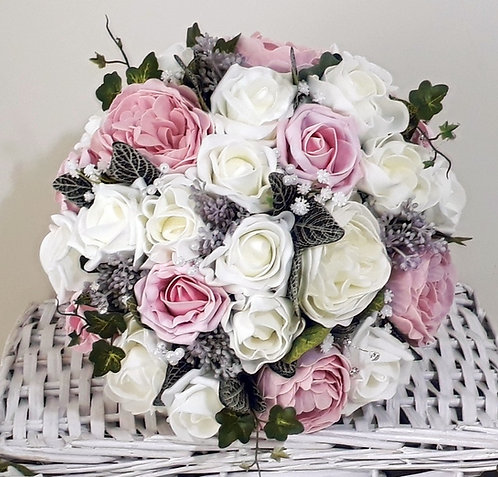 """Artificial bridal bouquet, mixed foam flowers and embellishments (10"""" wide)"""