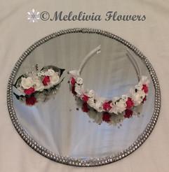 hot pink & ivory headband & hair clip - foam flowers