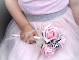 pink & ivory flower girl wand with butterfly - foam flowers