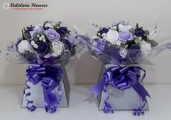 lilac & purple box bouquets - foam flowers
