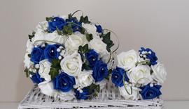 blue & white bouquets - foam flowers