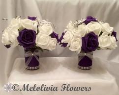 purple & white arrangement in vase - foam flowers