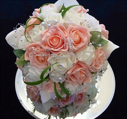 Artificial bridal bouquet with roses, calla lilies, carnations with hoops pearls