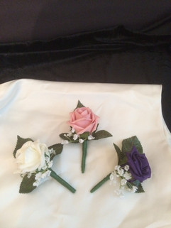 purple, pink & ivory buttonholes/corsages - foam flowers