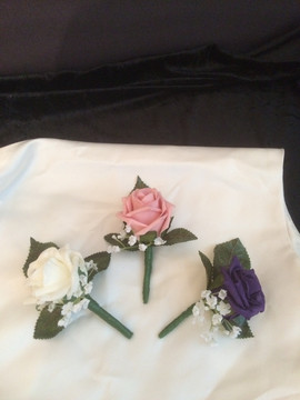 purple, pink & ivory buttonholes/corsages - foam flowers