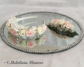 Pink & ivory headband and clip - foam flowers
