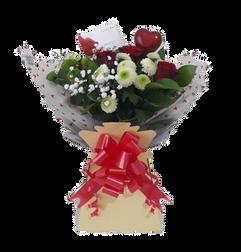 Red rose, chrysanthemum & gyp box bouquet- fresh flowers