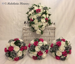 hot pink, silver & ivory bouquets - foam flowers