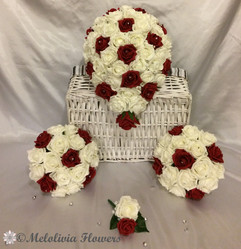 ruby red & ivory bouquets - foam flowers