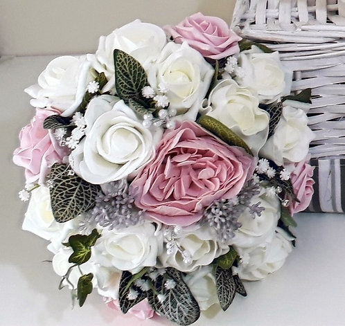 """Artificial bouquet with peony, roses and embellishments (8"""" wide)"""