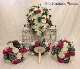 hot pink, silver & ivory bouquets with ribbon underside - foam flowers