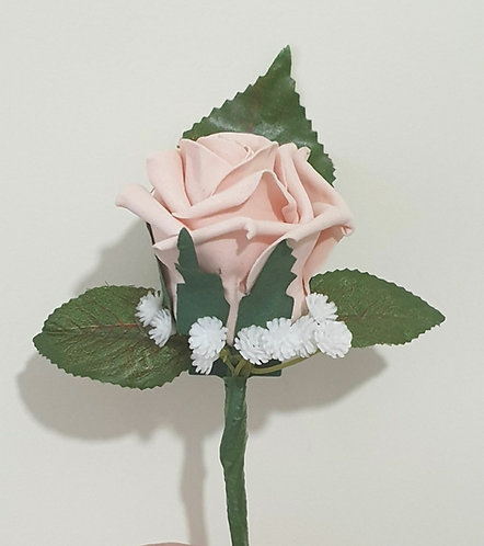Artificial single rose buttonhole