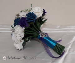 teal, purple & ivory bouquet with memory charm - foam flowers