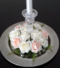 peach & ivory candle base ring - foam flowers