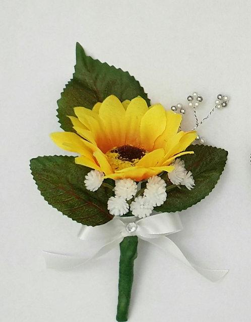 Artificial sunflower buttonhole/corsage