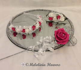 hot pink & ivory headband, hair clip and flower wand - foam flowers